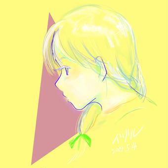 黄色いおさげの子