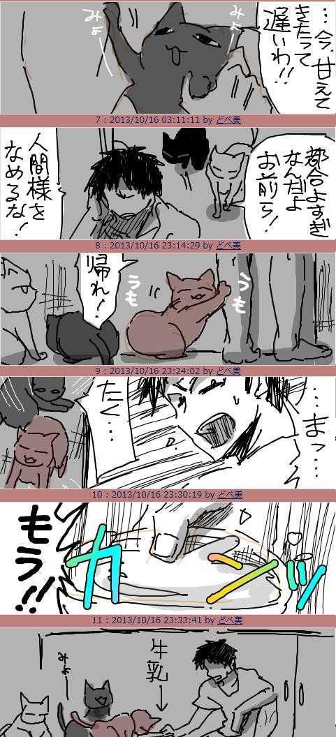 2013/10/17「猫になめられまくりZn(全部野良猫) 」