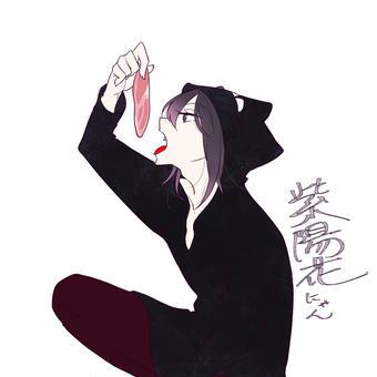 猫パーカー紫陽花さん