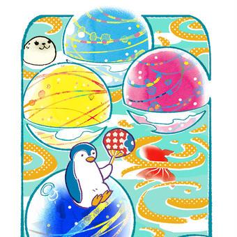 ペンギンとゴム風船