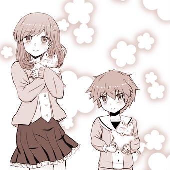 てれねこを抱っこする、ほっこり姉弟