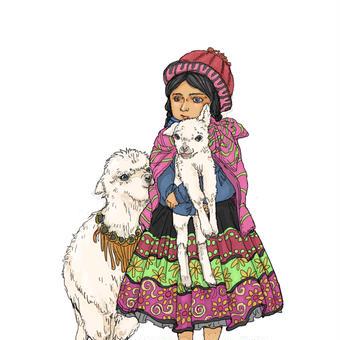アルパカと少女