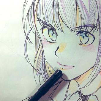 筆ペンと女子