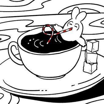 コーヒーを飲むエモ