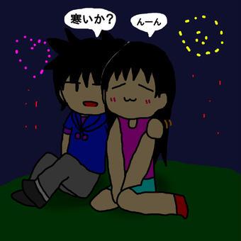 花火を見る親友たち