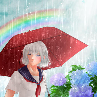 雨降り、紫陽花と女の子