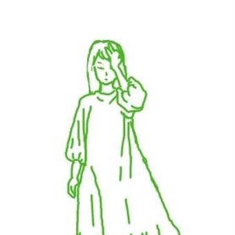 緑色に立つ女01