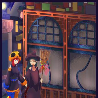 ハロウィン、そして建物の影に少女たち