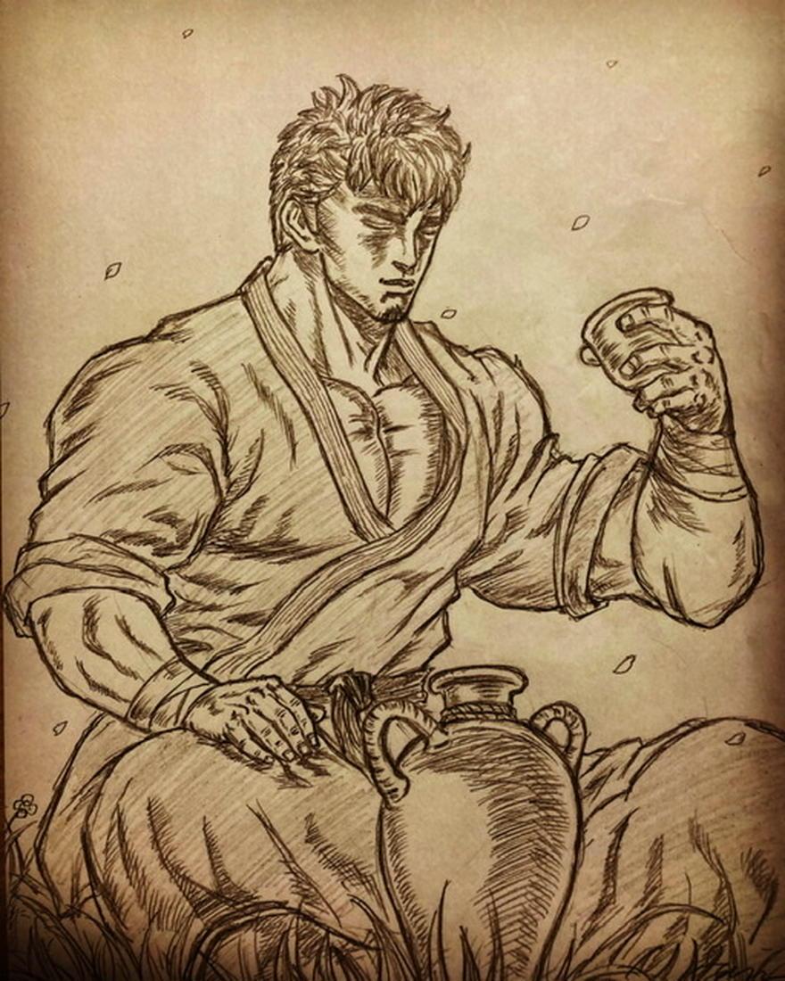 桜と武道家