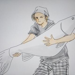 釣りをする男について