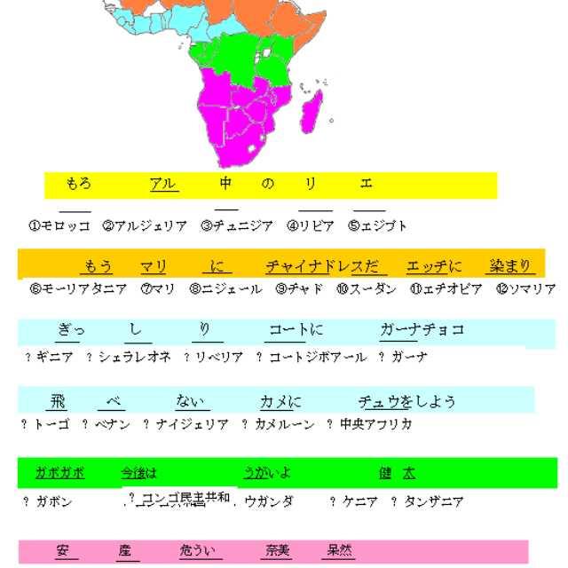 世界の国のゴロ合わせ(アフリカ・改)