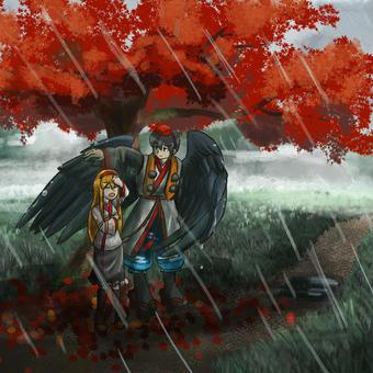 秋の雨宿り