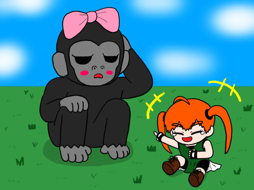 ペットのゴリラの頭にリボンを付けて爆笑する女武道家