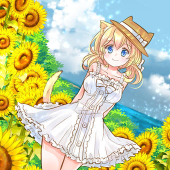向日葵と海
